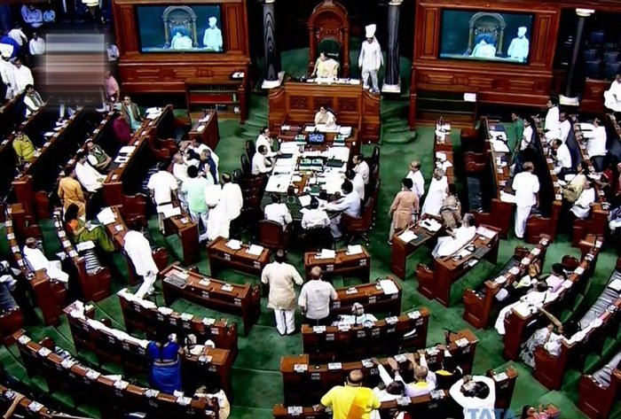 When the speaker moved to start a discussion on the triple talaq bill, several MPs of the Congress were in the well of the Lok Sabha, waving placards and raising slogans demanding a Joint Parliamentary Committee to probe the alleged irregularities in 2016 Rafale fighter jet deal.