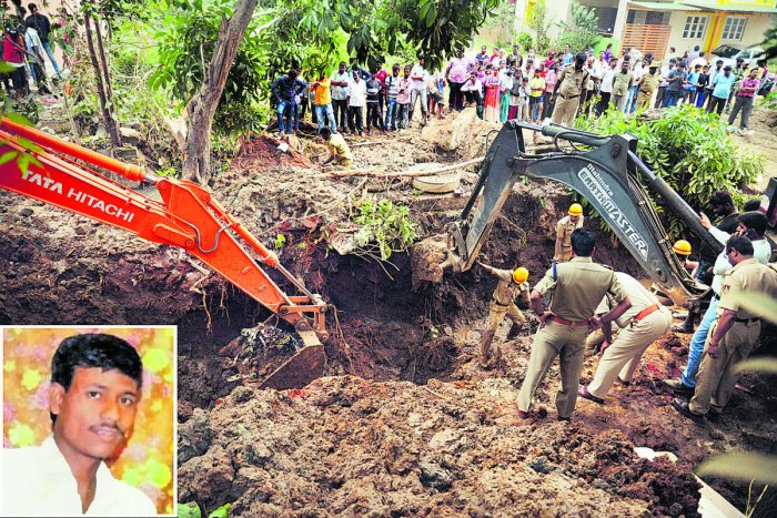 Madivalappa Gowda (inset) was buried alive after mud caved in while he was laying a pipeline at Shivanna Layout in Rajarajeshwari Nagar on Wednesday. File photo