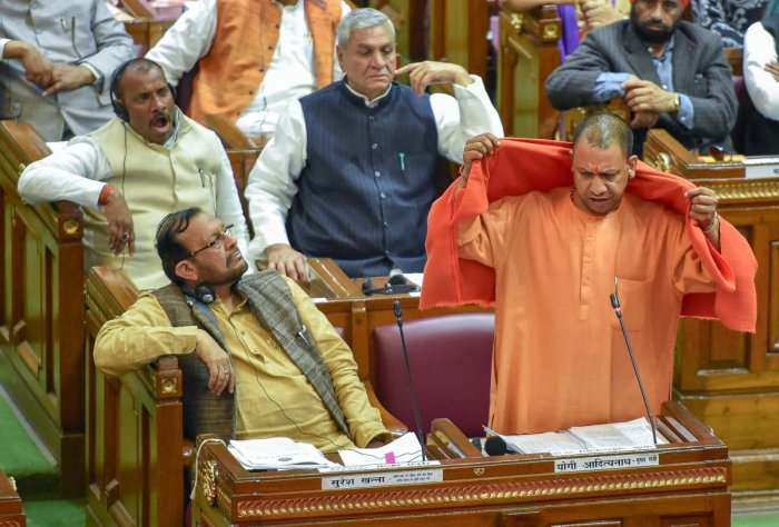 Uttar Pradesh Chief Minister Yogi Adityanath addresses the Assembly on supplementary budget during the Winter Session, in Lucknow, Thursday, Dec. 20, 2018. (PTI Photo)