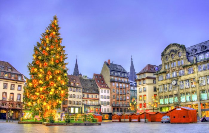 A Christmas tree on Place Kleber in Strasbourg, France
