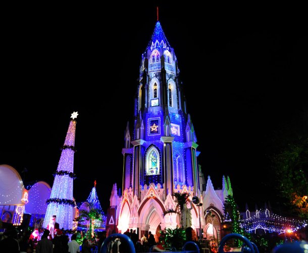 An illuminated St. Mary's Basilica on Christmas eve in Bengaluru