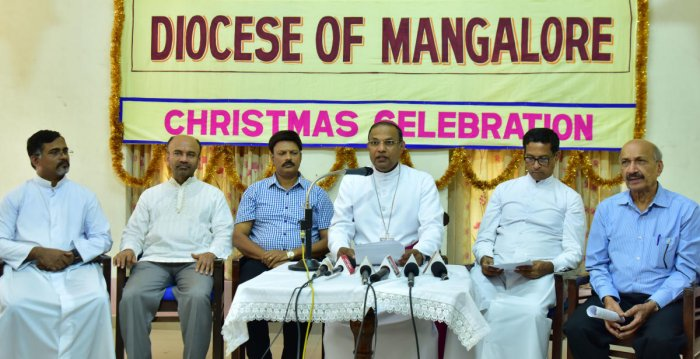 Mangaluru Bishop Fr Dr Peter Paul Saldanha delivers his Christmas message at Bishop's House in Mangaluru.