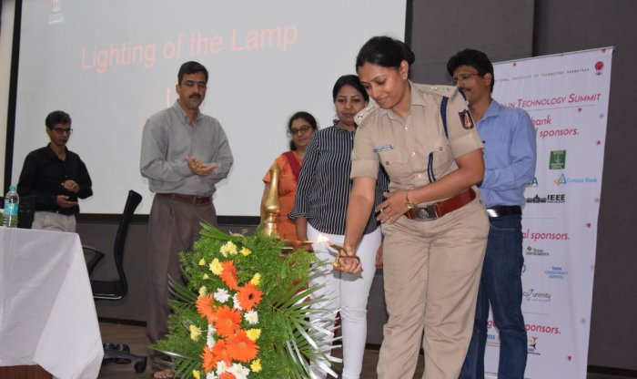DCP (Crime and Traffic) Uma Prashanth inaugurates Women in Technology summit organised by IEEE Computer Society, at NITK in Surathkal on Friday.