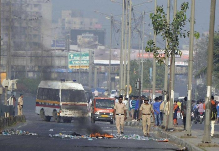 Altercation between two groups during the celebrations— organized by Bhima Koregaon Shaurya Din Prerna Abhiyan— to mark the bicentenary of the Anglo-Maratha war at Bhima Koregaon in Shirur taluk, Pune. PTI File Photo