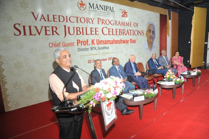 NITK, Surathkal Director Prof Umashankar Rao speaks at the valedictory of year-long celebrations of silver jubilee of Manipal Academy of Higher Education (MAHE), at Manipal on Saturday
