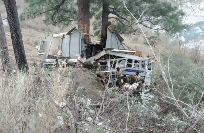 The vehicle was part of a Jammu-bound convoy and the accident occurred near Khuni Nallah in Ramban district around 8.45 am, a police officer said. (Image: ANI/Twitter)