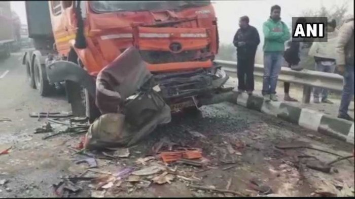 The accident took place on the Jhajjar bypass here in the morning (ANI/Twitter)
