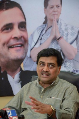 Maharashtra Pradesh Congress Committee president Ashok Chavan addresses a press conference in Mumbai on Saturday. PTI