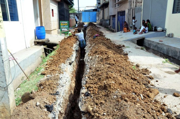 The roads in almost all wards have turned into a mess due to work on the 24x7 drinking water project.