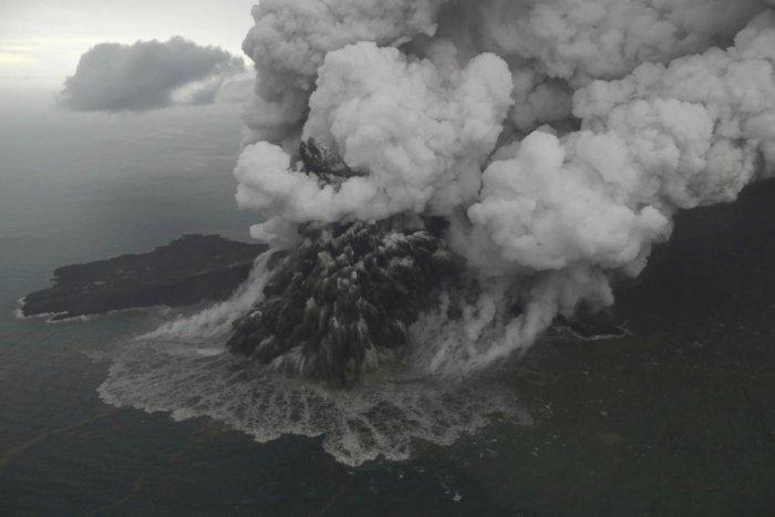 This aerial shot taken on Sunday, Dec. 23, 2018 shows Mount Anak Krakatau as it erupts on Java Strait, Indonesia. (AP/PTI)