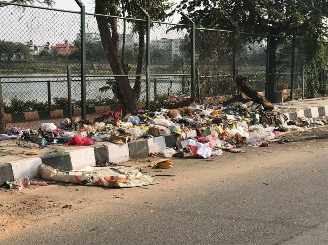 Garbage dumped on the road across the Sheelavanthakere Lake near Whitefield. Facebook