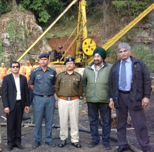 Jaswant Singh Gill at Meghalaya mining mishap site on December 16. DH photo
