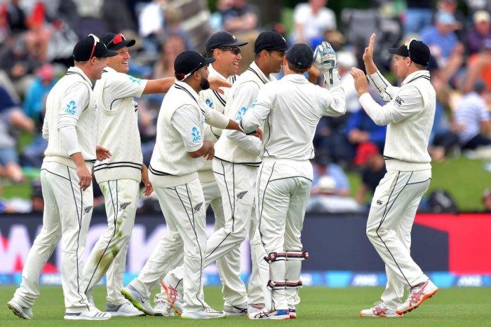 New Zealand players celebrate the dismissal of Sri Lanka's Danushka Gunathilaka on Wednesday. AFP