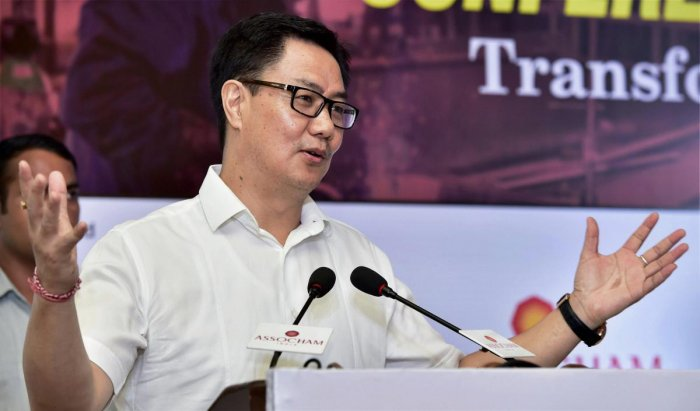 """Rijiju also blamed the previous Congress government in Meghalaya for the """"unsafe illegal mining activities"""" in the state. (PTI File Photo)"""