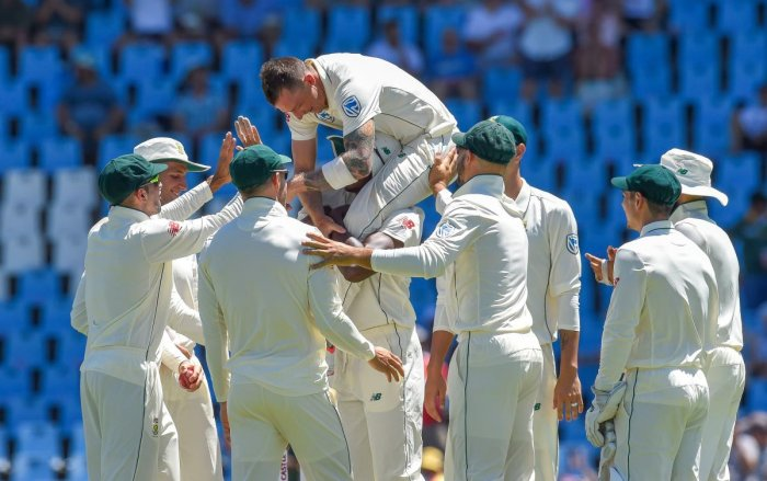 REMARKABLE: South Africa's Dale Steyn celebrates after getting Pakistan's Fakhar Zaman wicket on the first day of the first Test at SuperSport Park on Wednesday. AFP