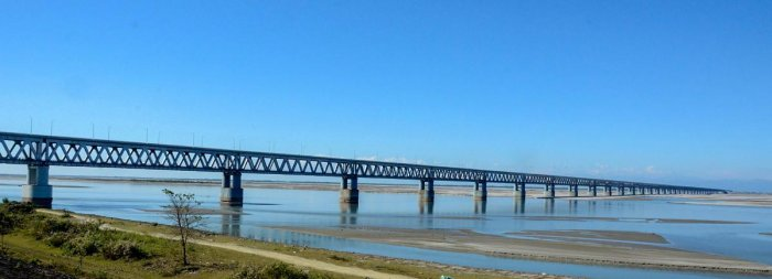 A view of India's longest rail-road bridge 'Bogibeel Bridge' in Dibrugarh, Monday, Dec 24, 2018, a day before its inauguration by Prime Minister Narendra Modi. PTI