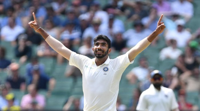 India's Jasprit Bumrah reacts after dismissing Australia's Nathan Lyon on day three of the third test match between Australia and India at the MCG in Melbourne, Australia, December 28, 2018. AAP/Julian Smith/via REUTERS
