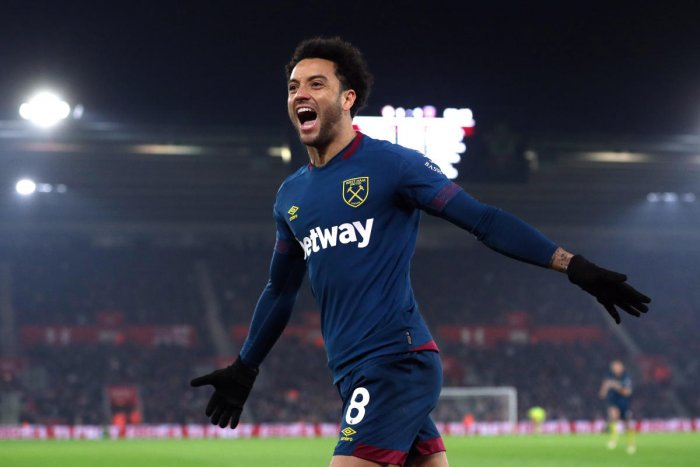 MAN IN FORM: West Ham's Felipe Anderson celebrates after scoring the winner against Southampton on Thursday night. REUTERS