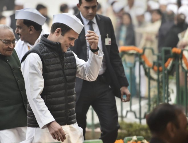 congress president rahul gandhi at the party hq on the 134th congress foundation day in