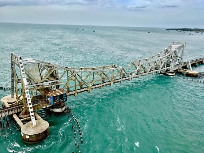 The now 104-year-old Pamban Bridge was India's first sea bridge and was the longest sea bridge in India until the opening of the Bandra-Worli Sea Link in Mumbai in 2010