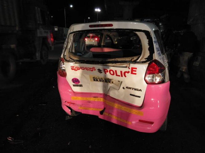 The damaged Hoysala patrol vehicle.