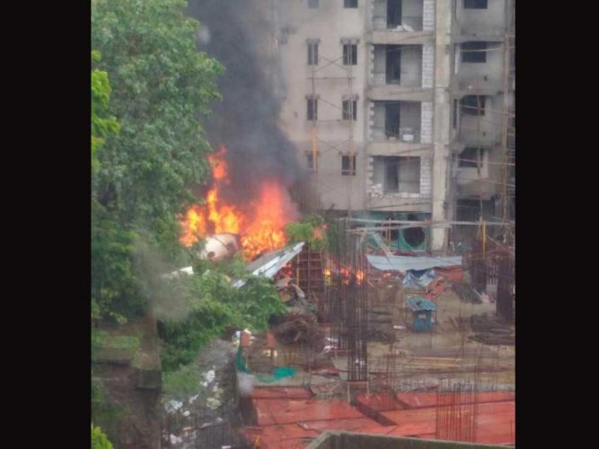 On June 28, a King Air C-90 charter aircraft crashed during a test flight in Ghatkopar, Mumbai. Four people onboard -- two pilots and two aircraft maintenance engineers, as well as a bystander, were killed in the incident. (DH File Photo)