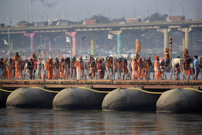 Sadhus take part in the Peshvai, a religious ceremony, ahead of the Kumbh Mela 2019, in Allahabad. (PTI Photo)