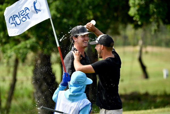SUPERB SHOW: US' Austen Truslow celebrates after winning the Asian Tour Qualifying School on Sunday. Asian Tour