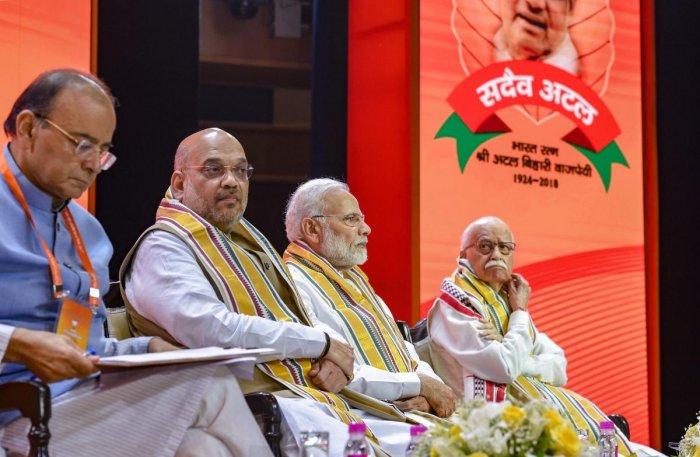 New Delhi: Prime Minister Narendra Modi, BJP President Amit Shah, Finance Minister Arun Jaitley and BJP senior leader LK Advani during BJP National Executive Meet, in New Delhi, Saturday, Sept 8, 2018. PTI Photo.