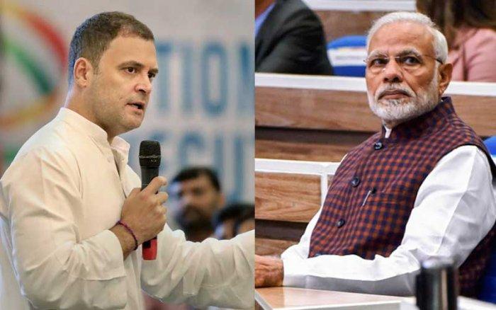 Rahul Gandhi and Narendra Modi. (PTI Photos)