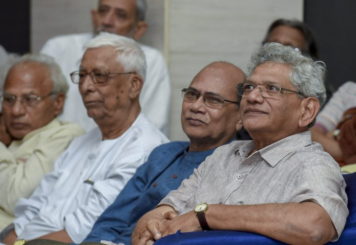 CPM general secretary Sitaram Yechury at the 'A. B. Bardhan Memorial Lecture' in New Delhi, on Tuesday. PTI