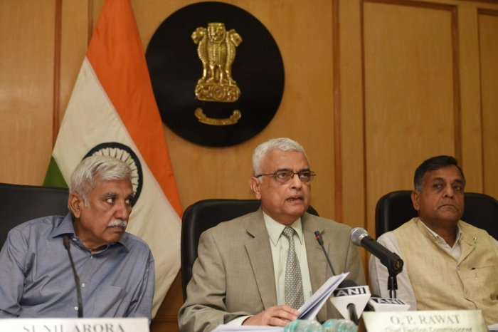 Chief Election Commissioner (CEC) O P Rawat with Election Commissioners Ashok Lavasa and Sunil Arora. PTI File Photo