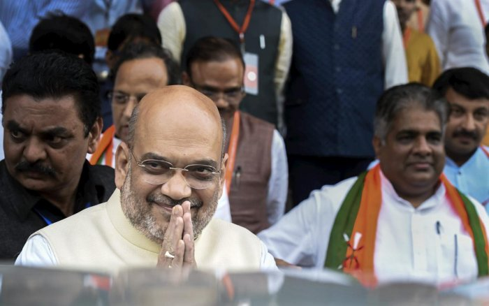 BJP President Amit Shah leaves after BJP National Executive Meeting, in New Delhi, Sunday, Sept 9, 2018. (PTI Photo)