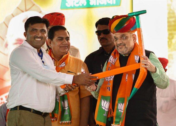 BJP president Amit Shah during a BJP OBC Morcha Sammelan in Pali, Rajasthan, on Sunday. PTI