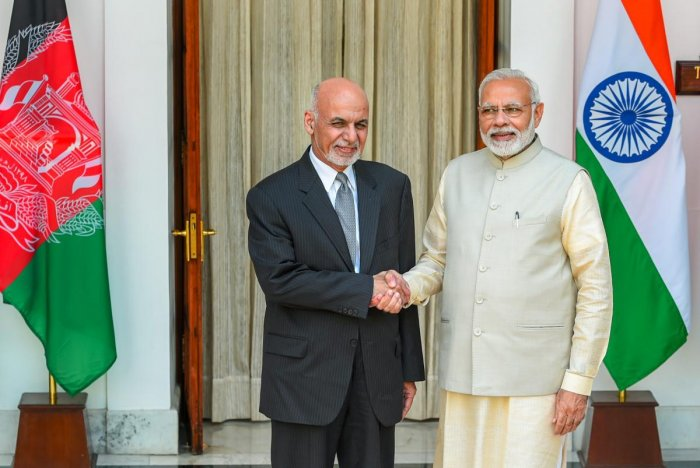 New Delhi: Prime Minister Narendra Modi (R) and Afghanistan President Ashraf Ghani ahead of a meeting at Hyderabad House, in New Delhi, Wednesday, Sep 19, 2018. (PTI Photo/Shahbaz Khan)(PTI9_19_2018_000053B)