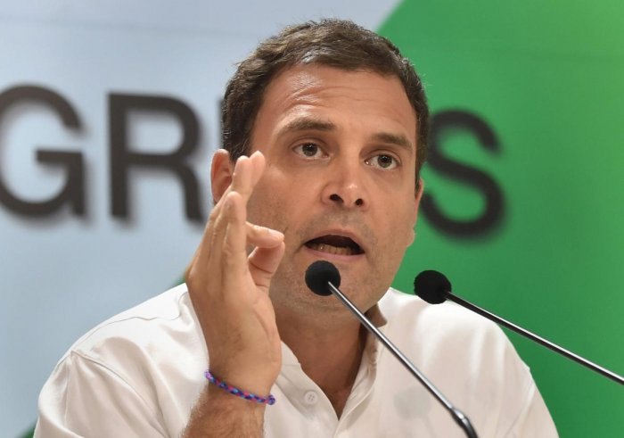 Congress president Rahul Gandhi addresses the media on Rafale deal issue, in New Delhi, on Saturday. PTI