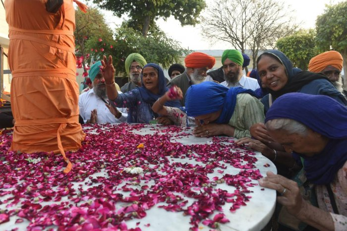 Sikh Pilgrims gather in the Kartarpur Gurdwara Sahib after a groundbreaking ceremony for the Kartarpur Corridor in Kartarpur on November 28, 2018. AFP file photo