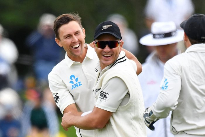 WRECKER IN CHIEF New Zealand's Trent Boult (left) celebrates with team-mate Neil Wagner after dismissing Sri Lanka's Dilruwan Perera on Thursday. AFP