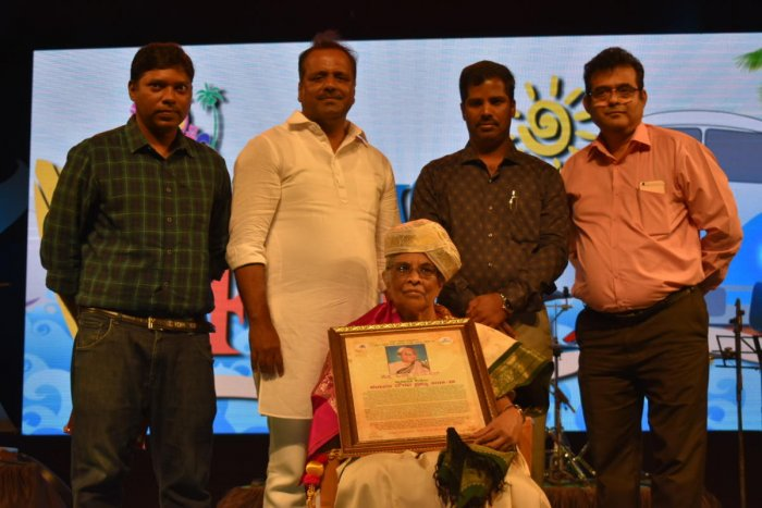 Prof Hilda Rayappan was felicitated with Karavali Gaurava Prshasthi, during the valedictory of beach festival at Panambur.