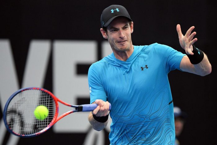Britain's Andy Murray returns to James Duckworth of Australia during their men's singles match in Brisbane on Tuesday. AFP