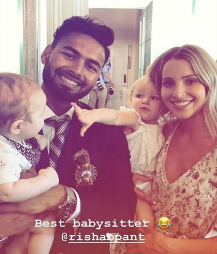 Australia captain Tim Paine's wife Bonnie Paine (left) posted this picture in her Instagram, calling Rishab Pant 'best babysitter.'