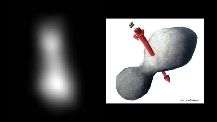 First image of UltimaThule. At left is a composite of two images taken by New Horizons, which provides the best indication of Ultima Thule's size and shape so far (artist's impression on right). (Credit: @JHUAPL)