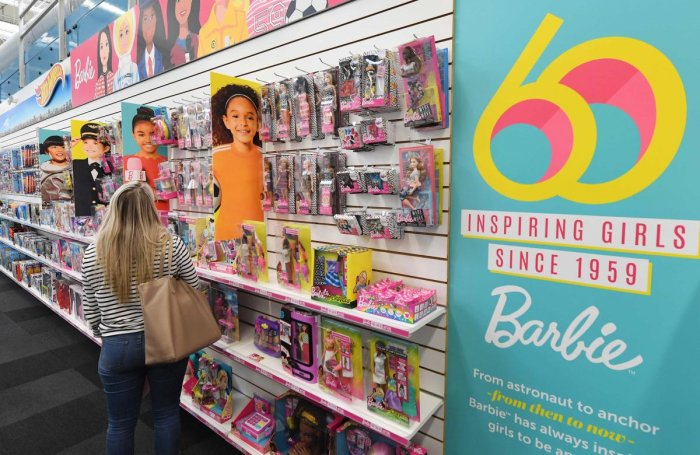 Barbie dolls are displayed at a workshop in the Mattel design center as the iconic doll turns 60, in El Segundo, on December 7, 2018. (Photo by Mark RALSTON / AFP)