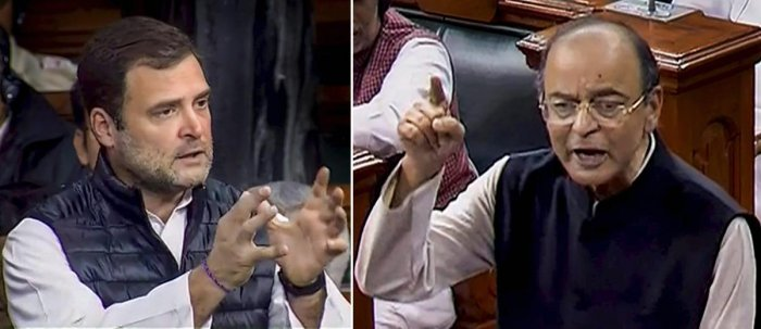 Union Finance Minister Arun Jaitley and Congress president Rahul Gandhi speak in the Lok Sabha during the discussion on the issues related to Rafale deal, at Parliament in New Delhi on Wednesday. PTI