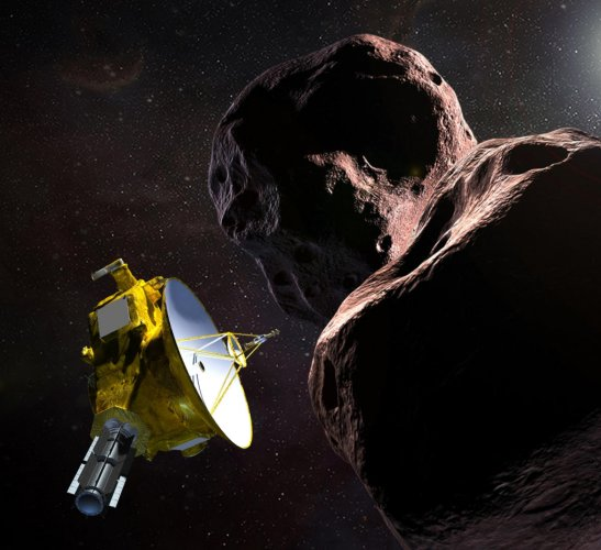 "This artist's illustration obtained from NASA on December 21, 2018 shows the New Horizons spacecraft encountering 2014 MU69 – nicknamed ""Ultima Thule"" – a Kuiper Belt object that orbits one billion miles beyond Pluto. (AFP file photo)"