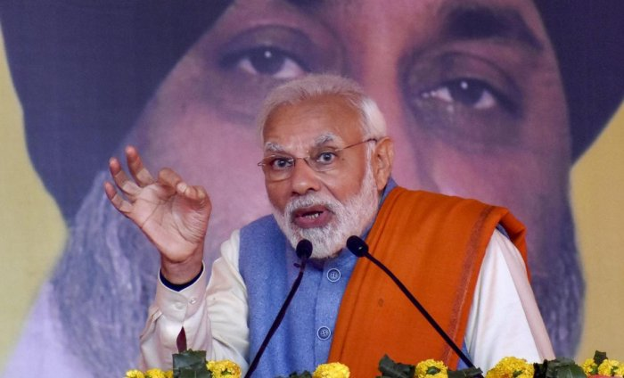 Prime Minister Narendra Modi speaks during an election campaign rally for the SAD-BJP alliance ahead of Lok Sabha 2019 elections at the PUDA ground, in Gurdaspur. PTI