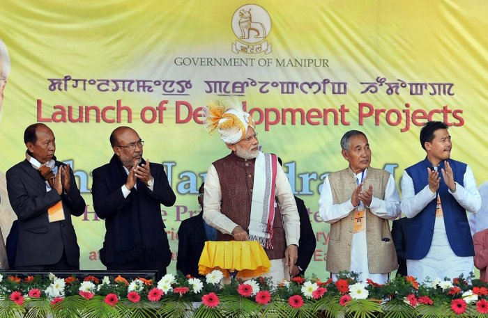 Prime Minister Narendra Modi launches developemnt projects, in Imphal, Friday, Jan 4, 2019. Manipur Chief Minister N Biren Singh is also seen. (PIB Photo via PTI)