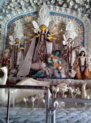 Sholapith work on Durga idol decor