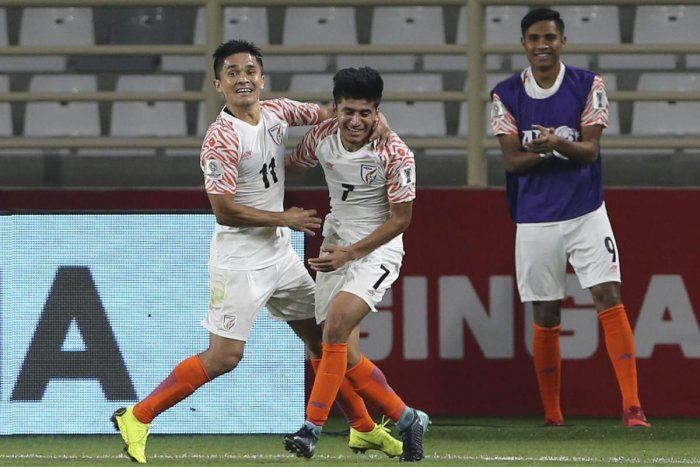DREAM START: India's Sunil Chhetri (left) celebrates with Anirudh Thapa after scoring his second goal against Thailand on Sunday. AP/PTI
