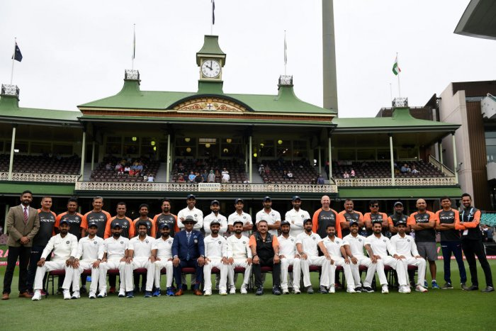 The Indian cricket team and staff pose for a photograph ahead of play on day five of the fourth test match between Australia and India at the SCG in Sydney, Australia, January 7, 2019. REUTERS